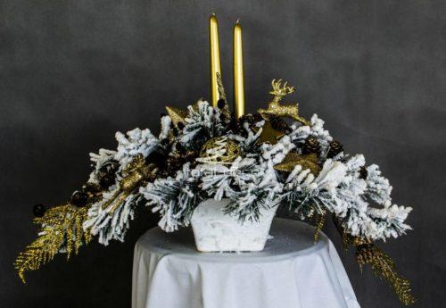 Dekoracja świąteczna złota ze świecami