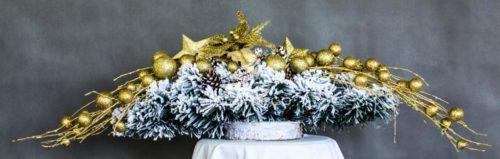 nowoczesny stroik bożonarodzeniowy/dekoracja na święta biało-złota
