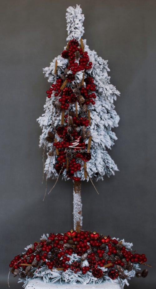 Zestaw świąteczny bożonarodzeniowy bieały czerwony nowoczesny w komplecie ze stroikiem oproszone śniegiem dekoracjie bożonarodzeniowe nowoczesne ozdoby świąteczne choinka na pniu bielona biała