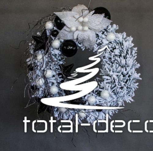 ośnieżony śnieżony wianek wieniec nowoczesny dekoracja bożonarodzeniowa ozdoba na drzwi na stół z dodatami czerni okrągł śnieg online