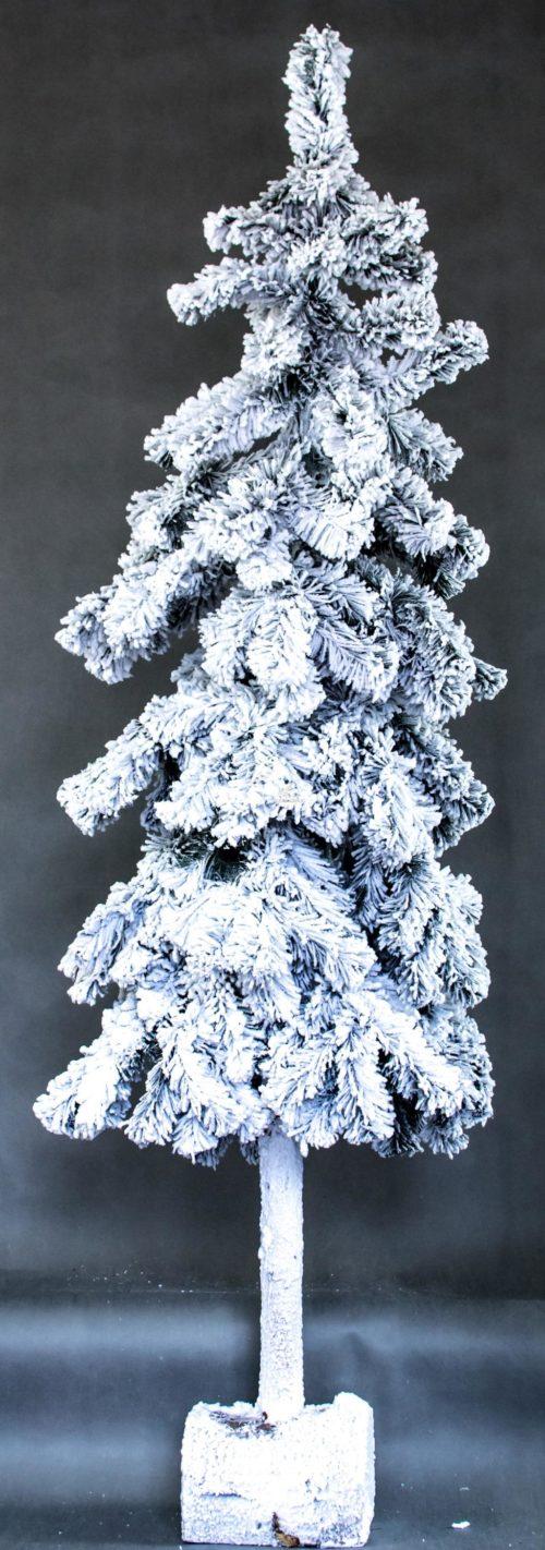 sztuczna żywa choinka na pniu nowoczesny wygląd oprószona śniegiem ośnieżona biała na nodze choinka nowoczesna dekoracja bożonarodzeniowa gałązki ze śniegiem
