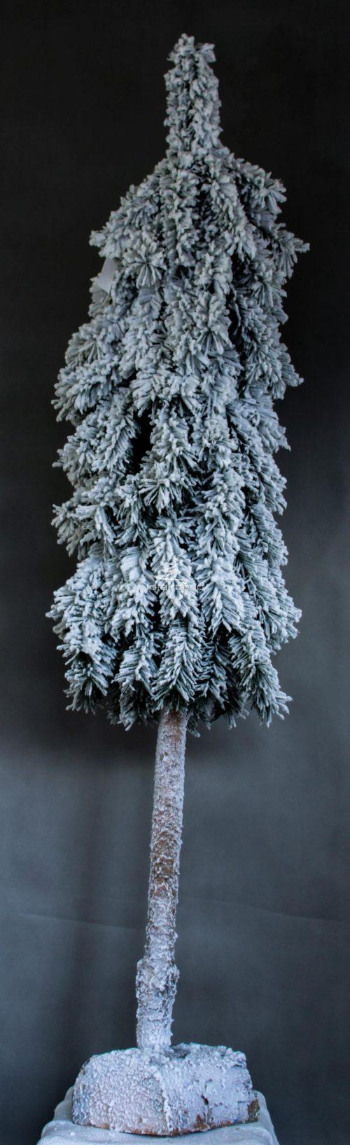 świerk górski sztuczna choinka na pniu ośnieżona oprószona śniegiem nowoczesna duża biała