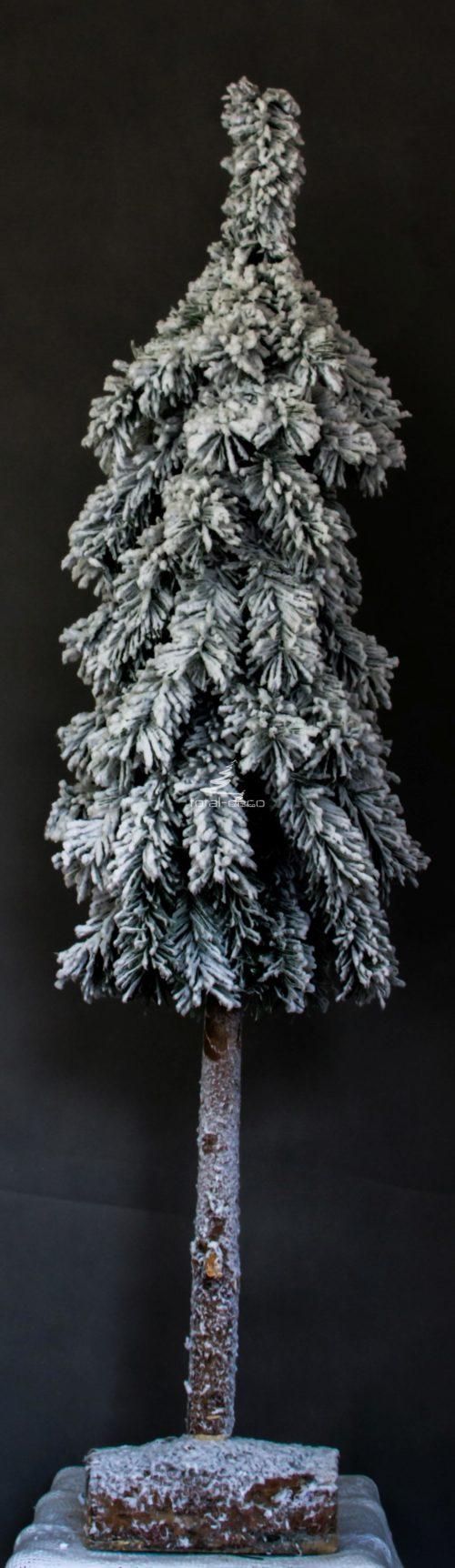 choinka sztuczna na pniu imitująca świerka górskiego drewniana podstawa białą ośnieżona nowoczesna oryginalna pionowa wąska oprószona śniegiem śnieg