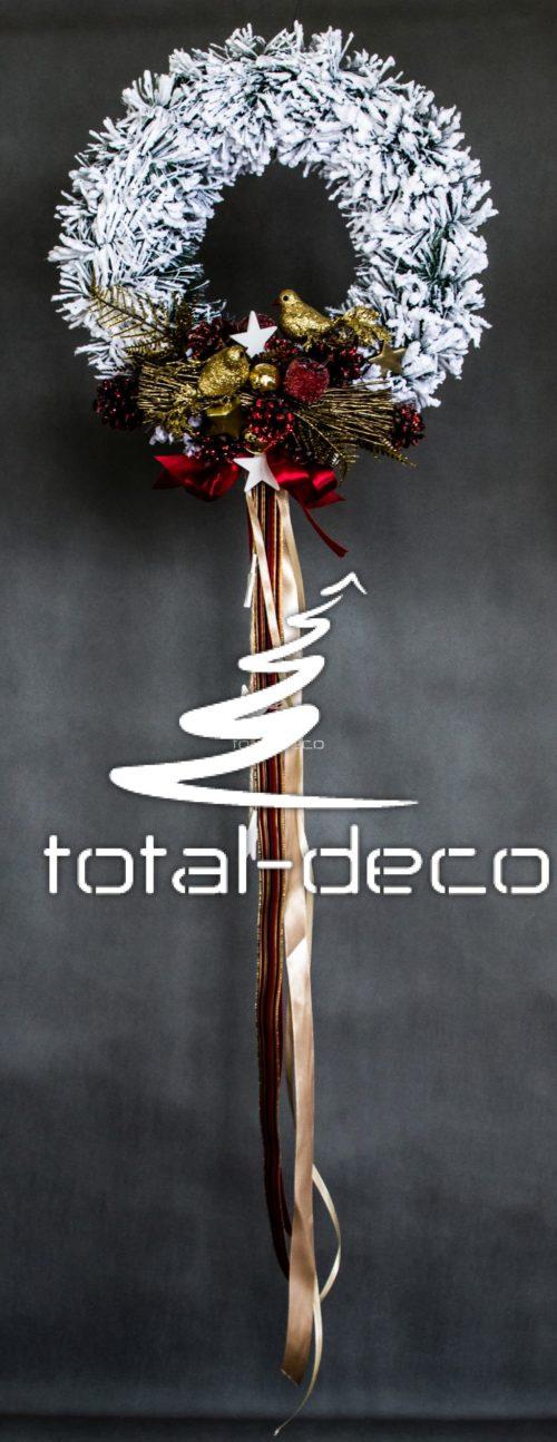 wianek wieniec świąteczny bozonarodzeniowy do powieszenia położenia nowocesny śnieżony ośnieżony oprószony śniegiem udekorowany dekoracje online sklep internetowy
