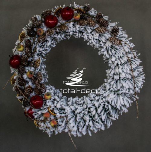 nowoczesny wianek bożonarodzeniowy ośnieżony udekorowany susz czerwień złoto ozdoba dekoacja świąteczna bożonarodzeniowa wianek wieniec do położenia do powieszenia