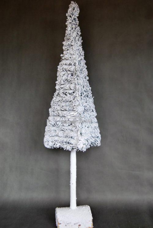 Choinka śnieżona polska produkcja na pniu nowoczesna oprószona śniegiem wysoka wąska biała nowoczesna