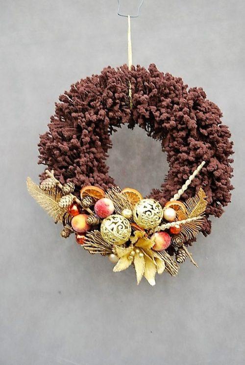 nowoczesny wianek bożonarodzeniowy do powieszenia położenia brązowy złoty nowoczesna dekoracja ozdoba na drzwi sklep internetowy