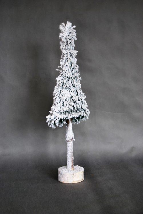 Sztuczna choinka w okno lub wystawę do witryn sklepowych nowoczesna dekoracja bożonarodzeniowa świąteczna zimowa na nodze na pniu biała oprószona śniegiem ozdoba