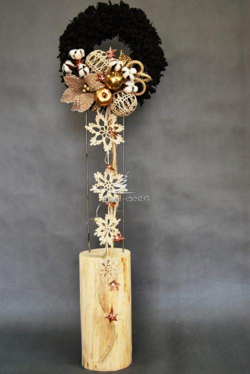 Wianek świąteczny dekoracja na drzwi na stół ręcznie zrobiony rękodzieło ośnieżony śnieżony nowoczesny brązowy dekoracja bożonarodzeniowa