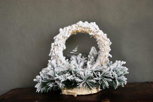Podkład pod stroik bożonarodzeniowy kosz do dekoracji na prezent nowoczesna ozdoba ośnieżona dekoracja świąteczna całoroczna sztuczna żywa