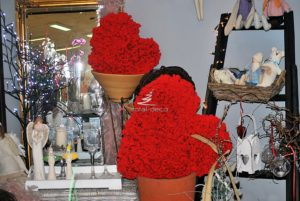wystrój kwiaciarni na walentynki
