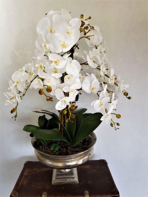 Ekskluzywna kompozycja ze sztucznych białych storczyków w dużej cynowej donicy