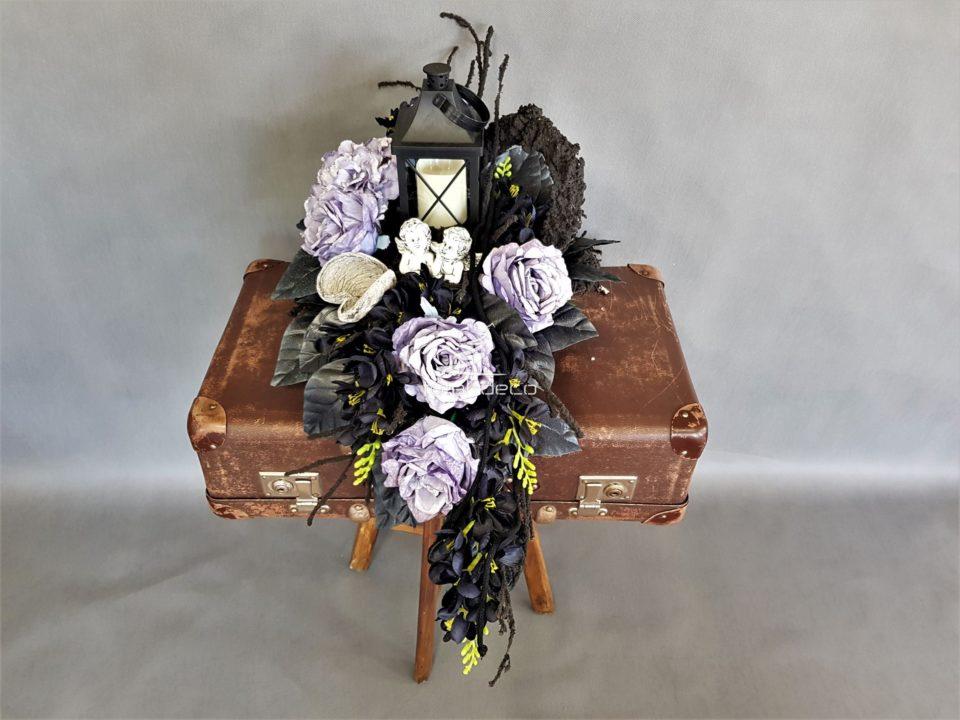 nowoczesny stroik na cmentarz,elegancka dekoracja na wszystkich świętych