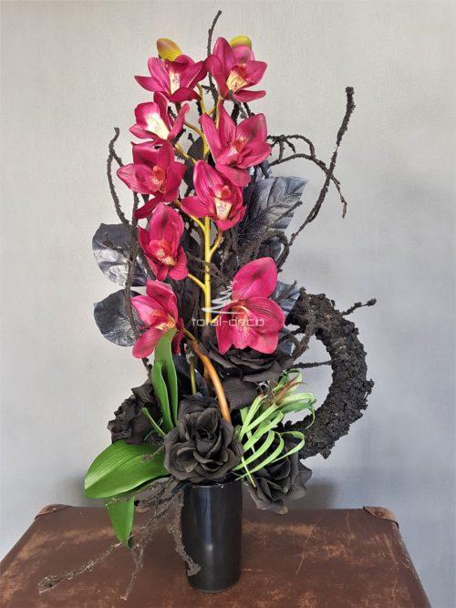 bukiet na cmentarz ze sztucznych kwiatów do wazonu