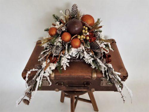 Nowoczesny stroik bożonarodzeniowy nowoczesna dekoracja świąteczna ozdoba ośnieżona złoto brąz