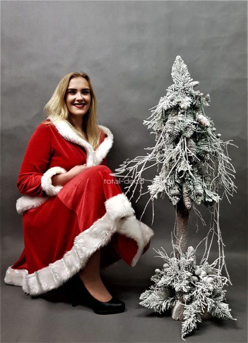 biała choinka świąteczna/choinki na pniu ze stroikami