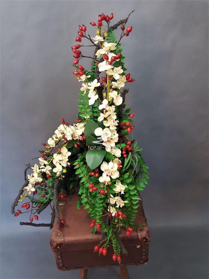 Zestaw dekoracji nagrobnych wiązanka z bukietem na cmentarz