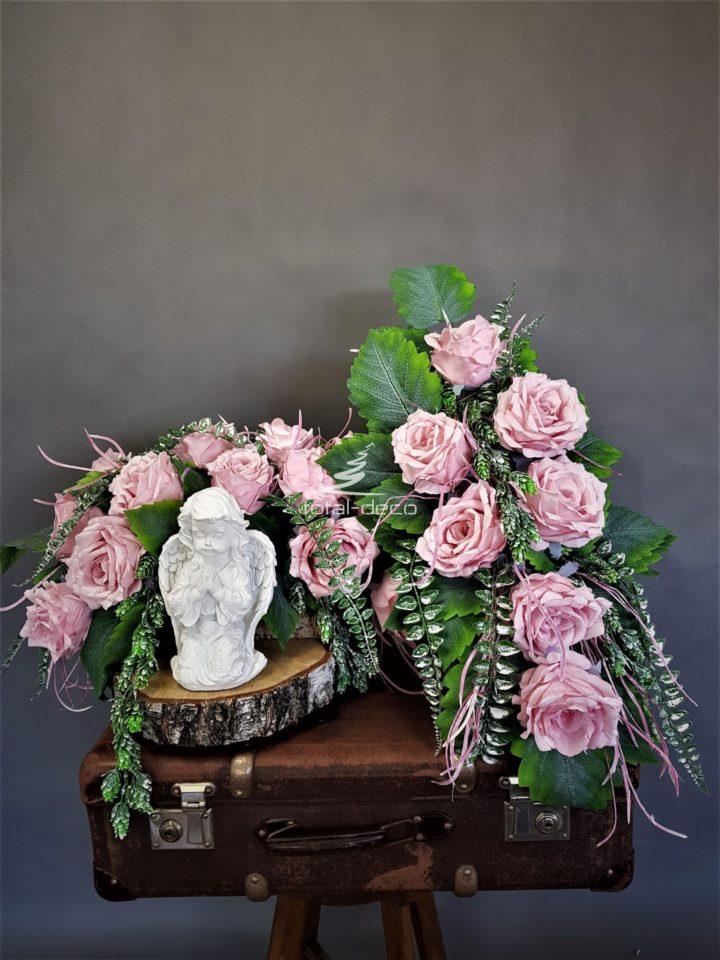 Komplet dekoracji nagrobnych sroik z bukietem na cmentarz