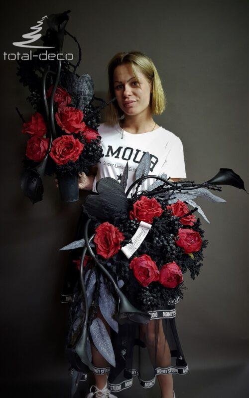 wiązanka i bukiet na cmentarz z czerwonych kwiatów