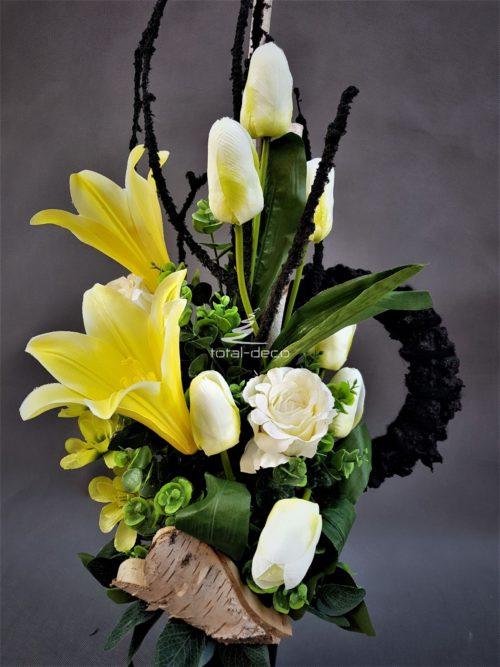 bukiet z sztucznych kwiatów do wazonu na cmentarz -e stroiki na cmentarz