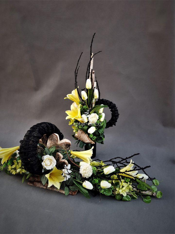 nowoczesna wiązanka na cmentarz z brzozą z bukietem do wazonu