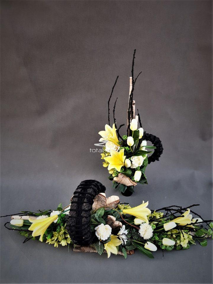 nowoczesne wiosenne stroiki wiązanka+buliet na cmentarz z żółtymi kwiatami