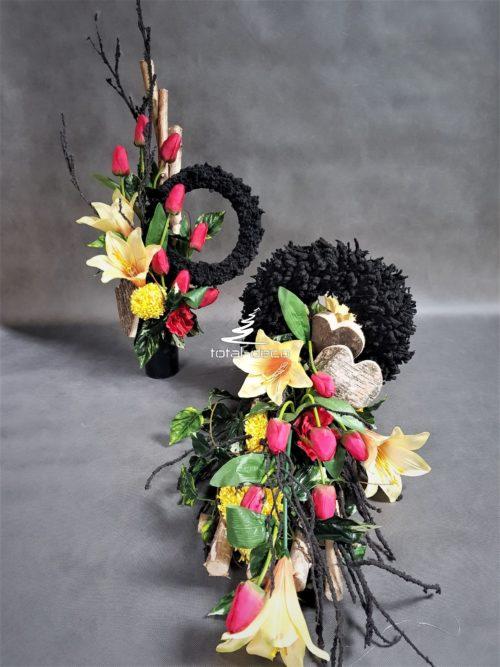 wiązanka z bukietem zestaw dekoracji na cmentarz