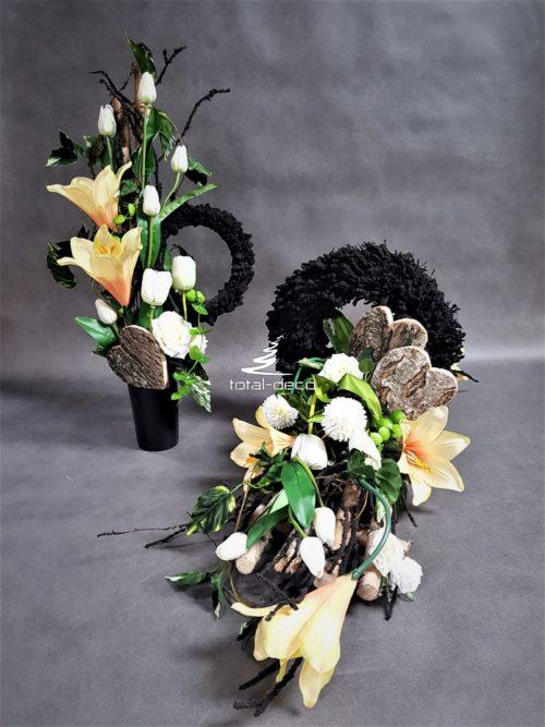 nowoczesne stroiki z bukietami na cmentarz