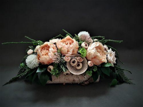 stroiki na cmentarz w brzozowych naturalnych pojemnikach/dekoracje na groby