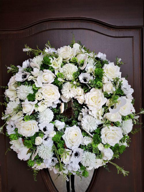biały wianek na drzwi/wianki na wesele i 1 komunię świętą