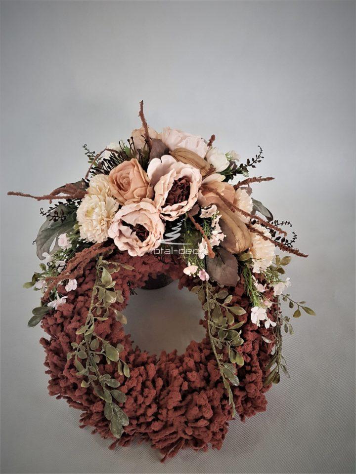 wianek na cmentarz ze sztucznych kwiatów