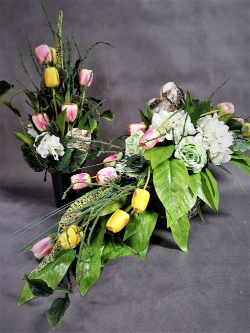 Zestaw dekoracji nagrobnych wiązanka z bukietem