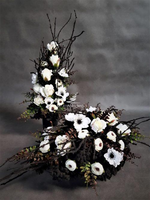 komplet dekoracji na cmentarz-stroik z bukietem
