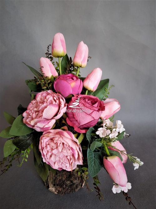 kompozycja kwiatowa na cmentarz/stroik z tulipanami