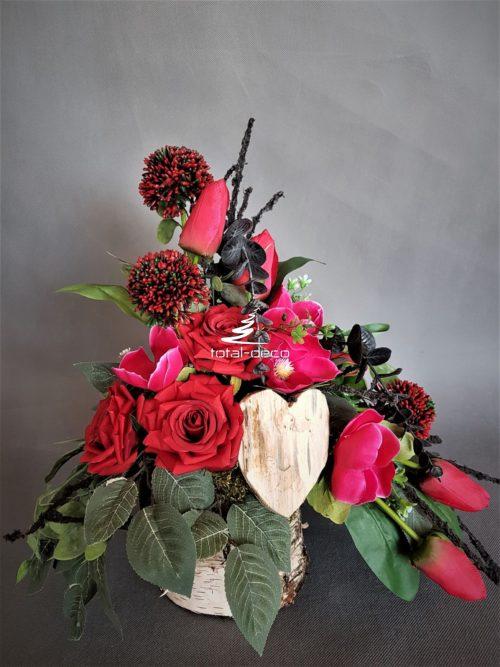 stroik na cmentarz w czerwieni/piękne dekoracje nagrobne