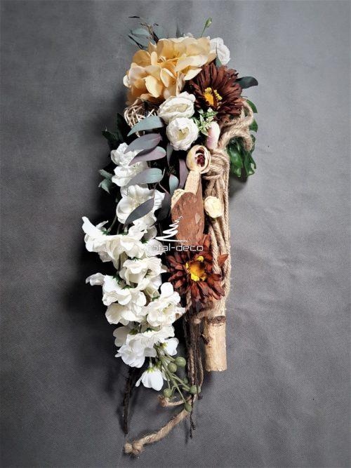 rustykalna kompozycja na cmentarz/dekoracje nagrobne