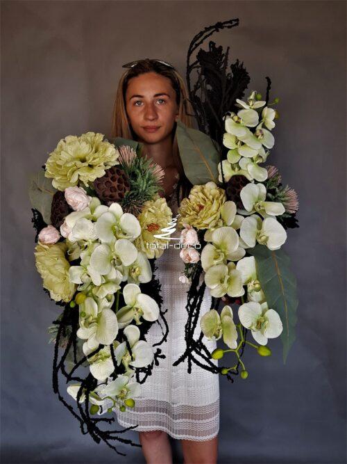 komplet ze storczykami na cmentarz/stroiki nagrobne