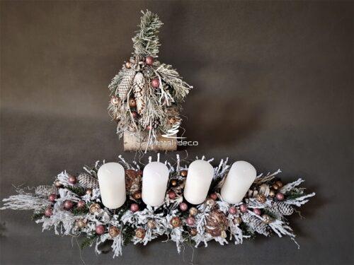 choinka i stroik wigilijny/dekoracje bożonarodzeniowe