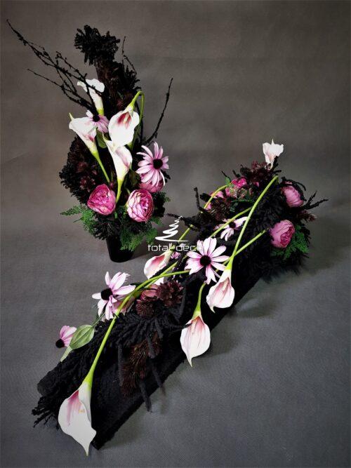 nowoczesna kompozycja na cmentarz/elegancka dekoracja na wszystkich świętych