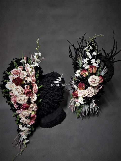nowoczesny zestaw dekoracji na wszystkich świętych/elegancki komplet bukietu i serca