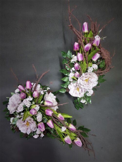 nowoczesne stroiki z tulipanami/stroik ze sztucznych tulipanów