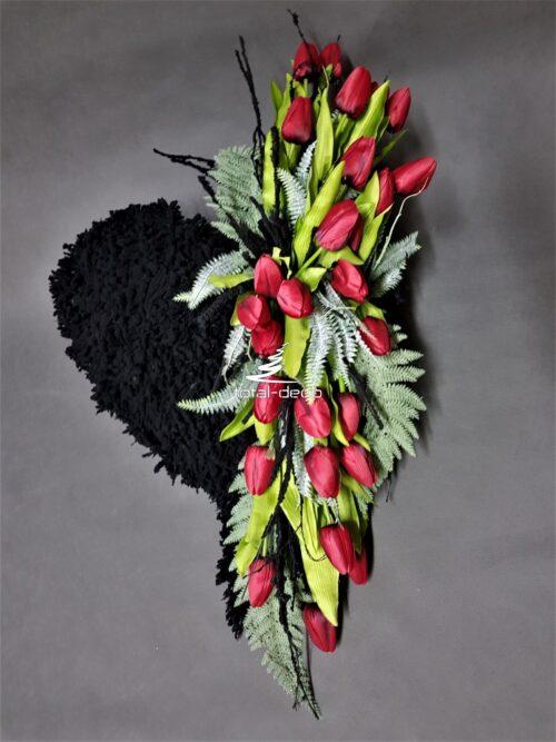 serce z tulipanów na cmentarz galeria