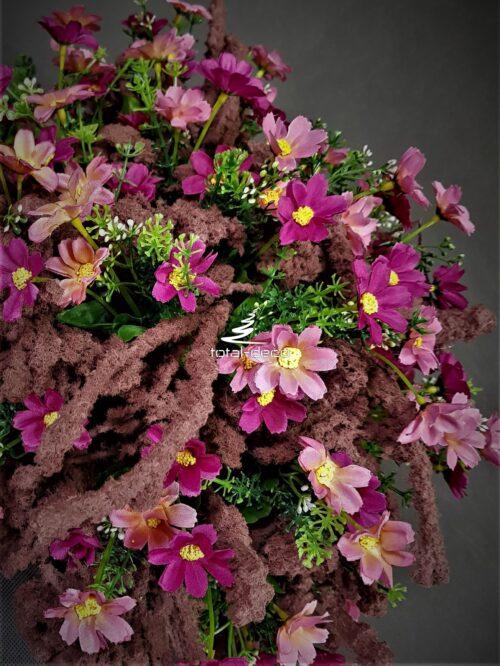 różowa kompozycja na cmentarz