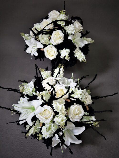 stroiki na cmentarz z białych kwiatów/kompozycje nagrobne