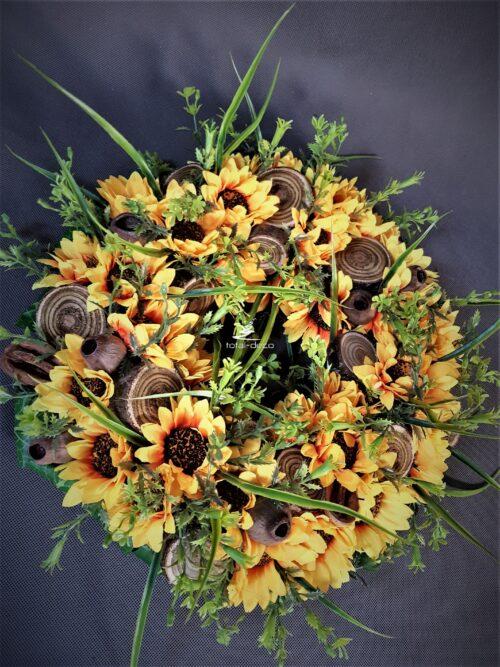 letni wianek na drzwi/kompozycja ze słoneczników