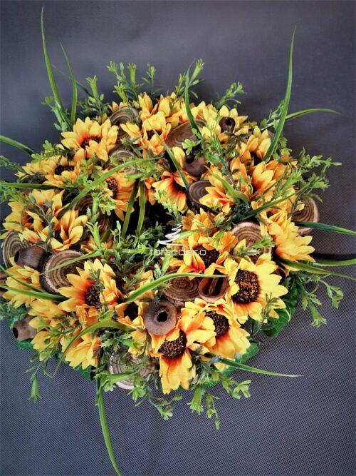 wianek kwiatowy/wieniec na drzwi ze słoneczników